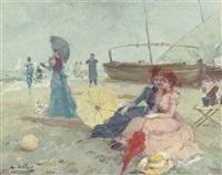 two elegant ladies on the beach by juan puig soler