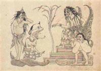 mythological scene by i. gusti nyoman lempad
