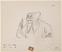 the wicked stepmother as the old hag (animation drawing for snow white and the seven dwarfs) by walt disney
