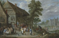 peasants dancing outside an inn at perck, with the kasteel de drij toren beyond by david teniers the younger