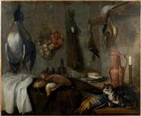 canards, perdrix, bécasses pendues dans une cuisine, à droite un chat convoite une perdrix by alessandro de loarte