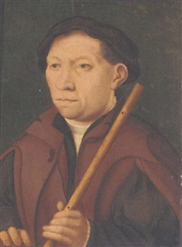 portrait of a gentleman wearing a brown cape, green coat, white blouse, and black cap, holding a flute by german school-cologne (16)