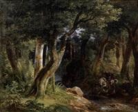 charlemagne, égaré dans la forêt, découvre les eaux d'aix-la-chapelle by robert léopold leprince