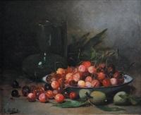 nature morte aux cerises et nature morte aux fraises (pair) by léon hubert