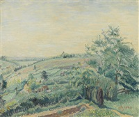 coney cottage, hills beyond the garden by lucien pissarro