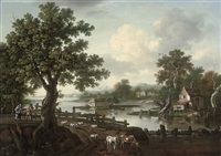 an extensive wooded river landscape by william tomkins