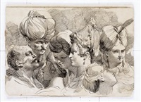 studies of five female and two male heads, including a turbaned man by mauro gandolfi