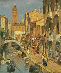 view of venice by felice castegnaro