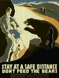 stay at a safe distance / don't feed the bears (poster) by charles verschruren