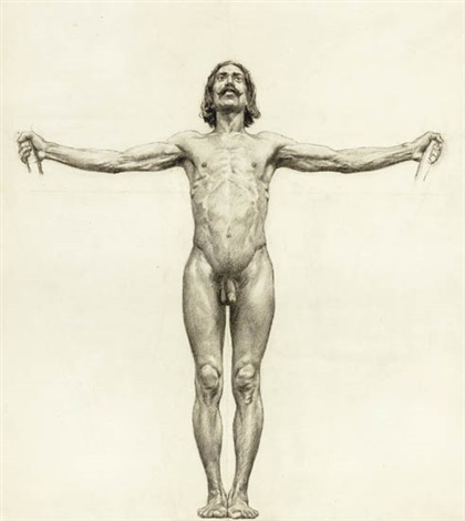 male nude with arms outstretched study by walter ufer