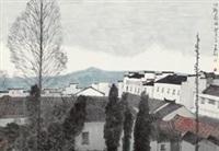 山乡欲雨 (landscape) by xu huaxiang