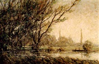 by a river bank by harold goldthwaite