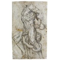 after laocoon - study (+ a seated female figure with putti - study; verso) by alberti family