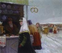 marktszene by pavel petrovich sokolov-skalua