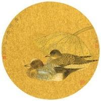 池清双戏图 by jiang hongwei