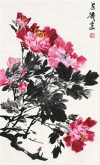 牡丹 立轴 设色纸本 (peony) by wang xuetao