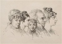 family portrait: a study of five heads (+ sketch of steps, pencil, verso) by orest adamovich kiprensky
