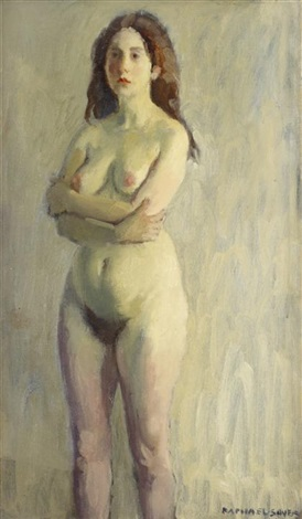 standing female nude by raphael soyer