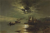 hudson under the moonlight by mauritz frederick hendrick de haas