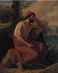ung mand i klassiske gevandter skuer l+ngselsfuldt ud over havet. . . by detlev konrad blunck