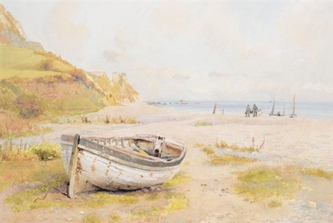 fishing boat on the beach by fritz b althaus