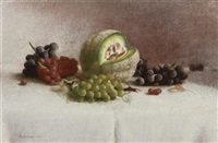 still life with melon and grapes by joseph decker