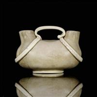 rare lattimo double-necked vase by tomaso buzzi