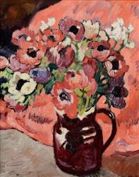 bouquet d'anémones sur fond rouge by louis valtat