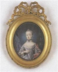princesse de hesse-darmstadt en robe de soie ivoire, rubans bleus et cape rouge, vue dans un paysage by johann christian fiedler