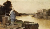 a vestal at the bank of the tiber in rome by louis hector leroux