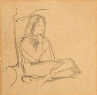 seated girl (study) by michael andrews
