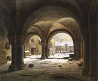 klosterhof im schnee by carl georg adolph hasenpflug