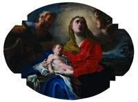 riposo della sacra famiglia durante la fuga in egitto by domenico antonio vaccaro