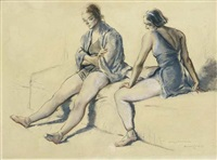 study of two dancers by sir daryl ernest lindsay