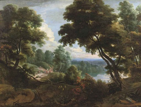 a wooded river landscape with figures conversing on a track by jacques d' arthois