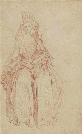 a young woman with an elaborate headdress by jean antoine watteau