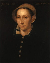 portrait of a woman, aged 28, wearing a black dress and lace collar by hermann tom ring
