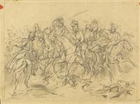 reiterschlacht (dbl-sided sketch) by albrecht adam