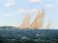 a yacht racing scene by stephen j. renard