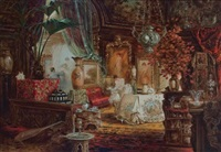 artist in an interior by carl kahler