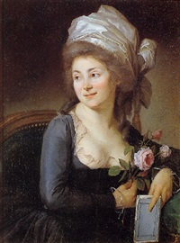portrait of a lady holding roses and a book by jean voilles