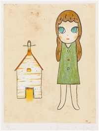 girl with house. girl and flying house (2 works) by hiroshi sugito and yoshitomo nara