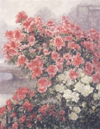 rhododendrons, with a town beyond by hildegard lehnert