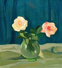 still life with roses by eero nelimarkka