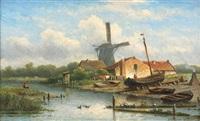 pêcheur face au moulin by eduard alexander hilverdink