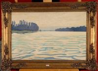 paysage au fleuve by joseph courtoy