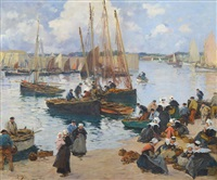 escena de puerto breton by fernand marie eugène legout-gérard