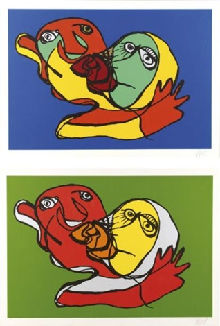 composition aux visages 2 works by karel appel