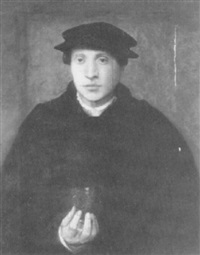 portrait of a young man, half length in a          black cloak and cap, holding a glass by christoph amberger