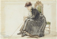study of a seated lady by august allebé